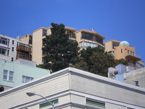 The back side of the apartment building, looking out over the Financial District with a view of the TransAmerica Building.
